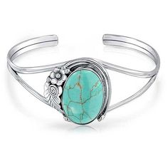 925 Silver Southwest Style Synthetic Turquoise Cuff Bracelet ($80) ❤ liked on Polyvore featuring jewelry, bracelets, aqua, bracelets cuff bracelets, turquoise jewelry, silver cuff bangle bracelet, silver turquoise jewelry, native american jewelry and turquoise jewellery