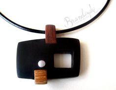 WOODEN JEWELRY - Original Handmade Wooden Necklace - exotic black and brown ebony, oak wood aluminium detail, 3mm leather cord. €45,00, via Etsy.BrandiyskiWOODENART