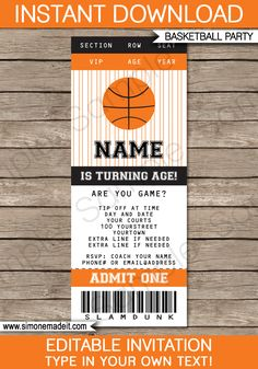 Basketball Ticket Invitation Template   Birthday Party Invitations   Team Parties   March Madness   Editable DIY Theme Template   INSTANT DOWNLOAD $7.50 via SIMONEmadeit.com