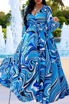 Roaso Bohemian Printed Blue Blending Floor Length Dress M Blue Long African Dresses, Latest African Fashion Dresses, Blue Chiffon Dresses, Plus Size Maxi Dresses, Chiffon Evening Dresses, Chiffon Maxi Dress, African Traditional Dresses, Perfect Prom Dress, Maxi Dress With Sleeves