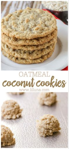 A delicious twist on the classic oatmeal cookie! These Oatmeal Coconut Cookies are so soft, chewy, tasty - it's impossible to only eat one! These coconut cookies are so simple and easy to make, you'll want to make them all the time! Oatmeal Coconut Cookies, Oatmeal Cookie Recipes, Chocolate Chip Cookies, Healthy Cookies, Delicious Cookies, Healthy Cookie Recipes, Dessert Recipes, Desserts, Food Network