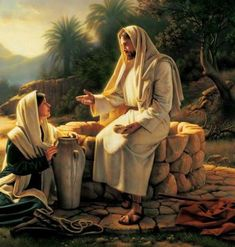 Jesus and the Samaritan woman at the well. Pictures Of Jesus Christ, Religious Pictures, Bible Pictures, Religious Art, Lds Art, Bible Art, Croix Christ, Arte Lds, La Sainte Bible