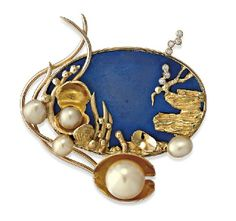 brooches | pearl brooch/pendant, depicting a marine scene set… - Brooches ...