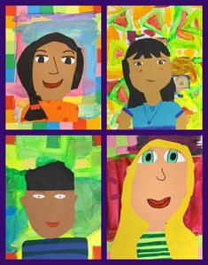 My students made self portraits with construction paper, tissue paper and paint. This lesson includes color mixing, shades and tints, proportion and facial details.