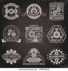 A set of vintage emblems with mechanisms, ribbons, banners. Logo of gears and mechanisms on a dark background. Background with scratches on a separate layer.