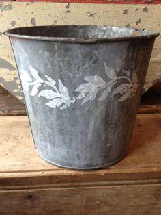 Stenciled vintage metal sap bucket #13