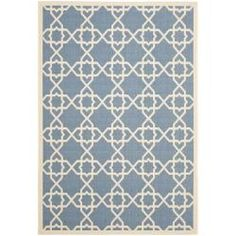 Perfect for any backyard, patio, deck or along the pool, this rug is great for outdoor use as well as any indoor use that requires an easy to maintain rug. This rug has a Blue background and displays stunning panel color of Beige.
