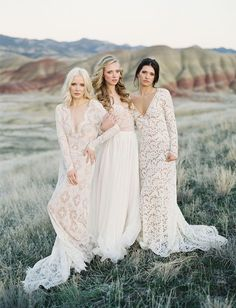 Emily Riggs Lace Wedding Dresses Captured in The Painted Hills