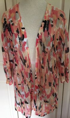 CJ Banks 2X Bright Watercolor Open Front Summer Mesh Cardigan 3/4 Sleeve #CJBanks #Cardigan #AnyTIME