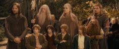 frodo gaat samen met: Gandalf, Aragorn of Stapper, legolas de elf, gimli de dwerg, sam, merijn, pepijn, en boromir. naar mordor.