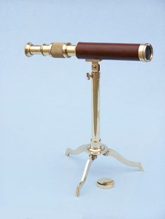 """Solid Brass Telescope on Stand 17"""""""" - Wood"""