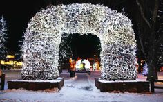 Wyoming's Christmas Elk Antler Arches in Jackson Hole