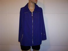 ZENERGY by CHICO'S Jacket Size 2 Purple Spandex Stretch Full Zipper M 12/14 #Chicos #BasicJacket #Outdoor
