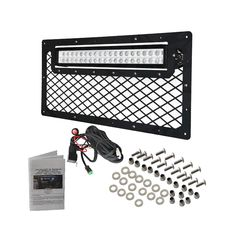 Jeep Wrangler JK grille kit with offraod led light bar added to Mud Life LED! https://www.mudlifeled.com/product/2007-2016-jeep-wrangler-jk-led-grille-kit-flat-black-out-style/