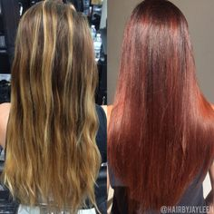 Copper hair, before and after, balayage hair, copper red hair, vibrant hair, Hair by Jayleen, @hairbyjayleen, The Hot Seat Salon, San Diego, CA