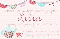 Printable Personalised Birthday Invitation for Girls - Cup of Tea