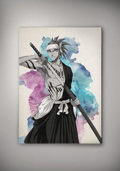 Bleach Anime Manga Watercolor Print Poster Ichigo Kurosaki Shinigami Rukia Kuchiki Renji Abarai Byakuya Kuchiki Zarazki Kenpachi Hollow