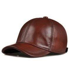 0759756d Fashion Genuine Leather Baseball Hat