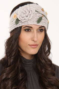 Embroidered Floral Knit Headband In Beige.