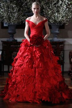 Nothing says romantic like the color red! (Romona Keveza Couture)
