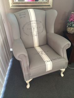 My painted grain sack wingback chair!