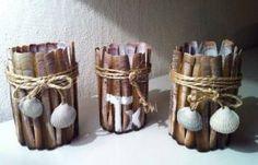 Waxinelichthouders met scheermesjes (schelpen)