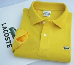 Lacoste Long Sleeve Classic Polo Shirts in Dark Yellow $32.19