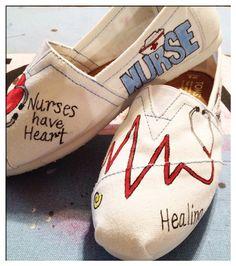 Nursing Custom Toms shoes / design 2 by CustomTOMSbyJC on Etsy, $100.00