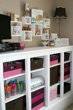Jess Larsen Design: Studio Tour I love your use of floating shelves to show off your rubber stamps. Great idea!