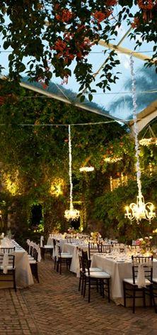 outdoor garden reception chandeliers uplighting gorgeous