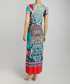 Another great find on #zulily! Turquoise & Red Geometric Maxi Dress #zulilyfinds