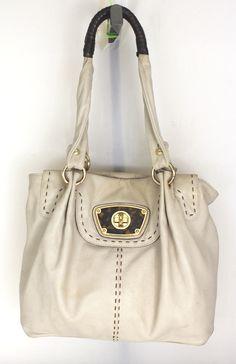 B Makowsky Beige Brown Pebbled Leather Tote Shoulder Bag Purse Handbag Ebay