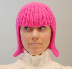 Upcycle a sweater and sew into a cute hat that looks like a wig. Tutorial is for knitting this pattern but could easily be done with recycled sweater!