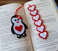 Pinguib-Herz-Lesezeichen crafts for kids for teens to make ideas crafts crafts Felt Bookmark, Bookmark Craft, Diy Bookmarks, Bookmark Ideas, Foam Crafts, Diy And Crafts, Paper Crafts, Yarn Crafts, Kids Crafts