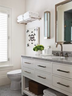 House & Home - bathrooms - butterfly art, train rack, train rack over toilet, pi. - For the Home - Bathroom Niche, Bathroom Photos, Bathroom Sets, White Bathroom, Bathroom Interior, Master Bathroom, Bathroom Vanities, Bathroom Designs, Modern Bathroom