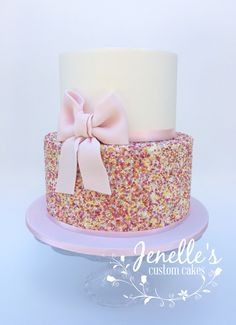 By Jenelle's Custom Cakes. Custom Cakes, Beautiful Cakes, How To Make Cake, 3rd Birthday, Vanilla Cake, Sprinkles, Cake Decorating, Food And Drink, Baby Shower