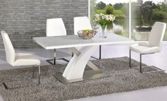Avici y shaped high gloss white and chrome dining table 6 chairs - 20292 modern, contemporary wooden dining table and 6 chairs sets. Wooden Dining Tables, Modern Dining Table, Dinning Table, Extendable Dining Table, Dining Table Chairs, Dining Set, Dining Room, White Glass Dining Table, Living Comedor