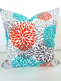 THROW PILLOWS 18x18 Orange Throw Pillow Covers 18 x 18 Aqua Turquoise Gray Decorative Throw pillows. $18.95, via Etsy.