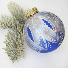 Faberge Inspired Christmas Ornament  glass ball by SilverOwlStudio