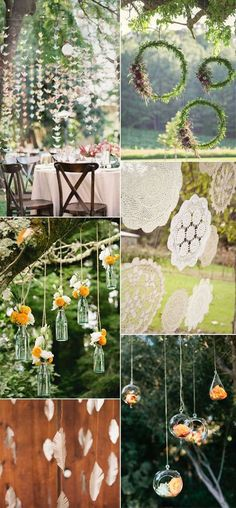 hanging decorations for outdoor wedding, boho wedding ideas, dream catcher, hanging flowers, bohemian wedding trends