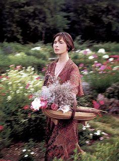 Isabella Rossellini in the garden