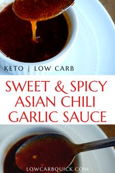 Asian-inspired chili garlic sauce that's savory, sweet and spicy. Low carb and keto friendly. A sweet and spicy Asian-inspired garlic chili sauce. A keto and low carb friendly recipe that pairs perfectly with seafood and stir-fry recipes. Keto Sauces, Low Carb Sauces, Low Carb Recipes, Recipes With Chili Garlic Sauce, Sauce Recipes, Dip Recipes, Keto Foods, Dips, Best Fat Burning Foods