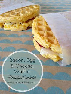 Bacon, Egg & Cheese Waffle Breakfast Sandwich   21 Back-To-School Breakfast Recipes That Kids Will Love