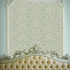 Wall Stencil | Donatella Damask Stencil | Royal Design Studio -- put stencil in a frame behind bed!