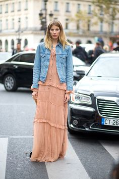 Denim jacket over long dress. Veronika Heilbrunner in Chloe    - HarpersBAZAAR.com