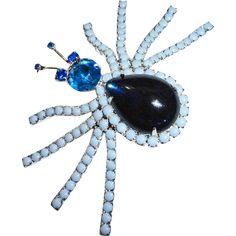 Blue Milk Glass Rhinestone Spider Brooch –Massive