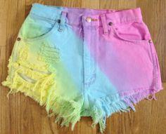 sideways rainbow dip-dyed shorts