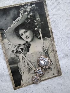 Vintage, silver colour brooch with glossy strasses,  Art Nouveau BW postcard, elegant lady in hat 1907 Elegant Lady, Leaf Shapes, Etsy Shipping, Green And Orange, Little Gifts, Vintage Silver, Silver Color, Art Nouveau, Vintage Ladies
