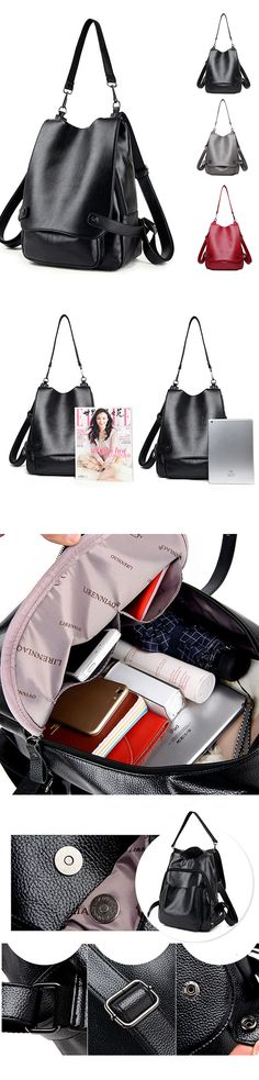 [$ 39.96] Ekphero Genuine Leather Multifunctional Crossbody Bag Shoulder Bags Backpack