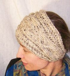 PATTERN - Handmade Knit Headband for Women Head scarf Cabled Headwrap Ear warmer with button